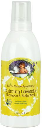Calming Lavender Shampoo & Body Wash, Lavender Vanilla, 34 fl oz (1 L) by Earth Mama Angel Baby-Barns Hälsa, Barnbad, Schampo, Barnschampo