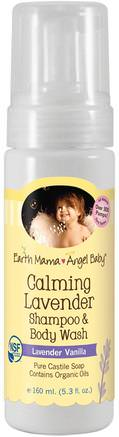 Calming Lavender Shampoo & Body Wash, Lavender Vanilla, 5.3 fl oz (160 ml) by Earth Mama Angel Baby-Barns Hälsa, Barnbad, Schampo, Barnschampo