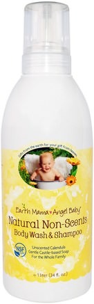 Natural Non-Scents Shampoo & Body Wash, Unscented Calendula, 34 fl oz (1 L) by Earth Mama Angel Baby-Barns Hälsa, Barnbad, Schampo, Barnschampo