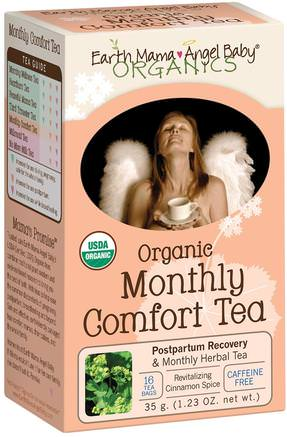 Organic Monthly Comfort Tea, Revitalizing Cinnamon Spice, Caffeine Free, 16 Tea Bags, 1.23 oz (35 g) by Earth Mama Angel Baby-Mat, Örtte, Postpartum