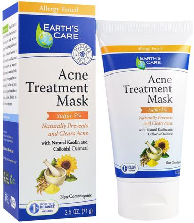 Acne Treatment Mask, Sulfur 5%, 2.5 oz (71 g) by Earths Care-Skönhet, Ansiktsmask, Akne, Fläckmask, Hälsa, Akne, Hudtyp, Akne Benägen Hud