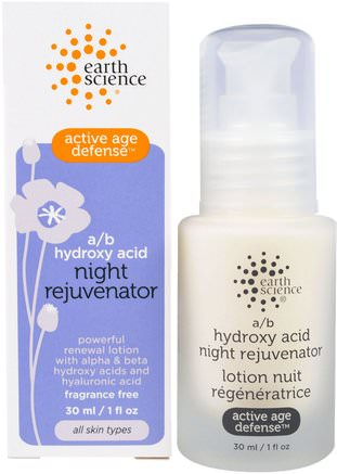 Active Age Defense, A/B Hydroxy Acid Night Rejuvenator, 1 fl oz (30 ml) by Earth Science-Hälsa, Kvinnor, Alfa Lipoinsyra Krämer Spray, Krämer Lotioner, Serum