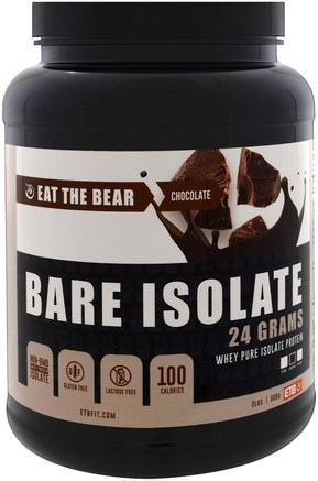 Bare Isolate, Whey Pure Protein Isolate, Chocolate, 2 lbs (908 g) by Eat the Bear-Sport, Kosttillskott, Vassleprotein