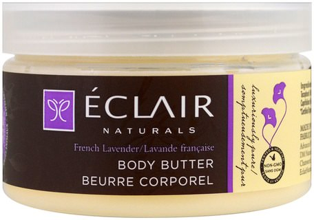 Body Butter, French Lavender, 4 oz (113 g) by Eclair Naturals-Hälsa, Hud