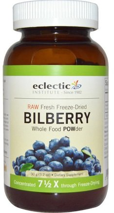Bilberry, Whole Food Powder, 3.2 oz (90 g) by Eclectic Institute-Hälsa, Ögonvård, Synvård, Blåbär