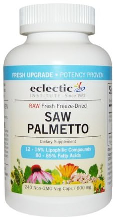 Saw Palmetto, 600 mg, 240 Non-GMO Veg Caps by Eclectic Institute-Hälsa, Män