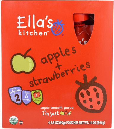 Apples, Strawberries, Super Smooth Puree, Stage 2, 4 Pouches, 3.5 oz (99 g) Each by Ellas Kitchen-Barns Hälsa, Barnmat