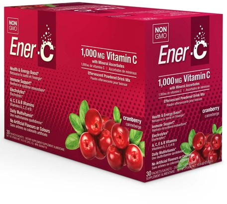 Vitamin C, Effervescent Powdered Drink Mix, Cranberry, 30 Packets, 10.0 oz (282.3 g) by Ener-C-Vitaminer, Vitamin C