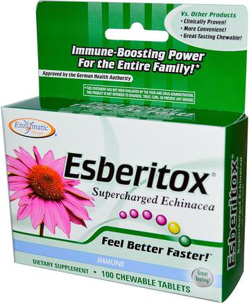 Esberitox, Supercharged Echinacea, Immune, 100 Chewable Tablets by Enzymatic Therapy-Kosttillskott, Antibiotika