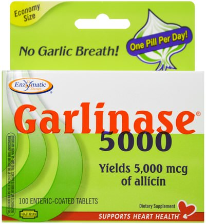 Garlinase 5000, 100 Enteric-Coated Tablets by Enzymatic Therapy-Kosttillskott, Antibiotika