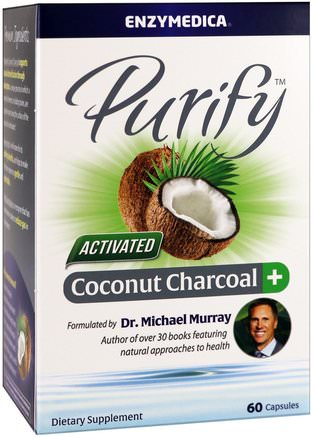 Purify, Activated Coconut Charcoal+, 60 Capsules by Enzymedica-Kosttillskott, Mineraler, Aktivt Kol