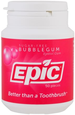 Xylitol Gum, Sugar-Free, Bubblegum, 50 Pieces by Epic Dental-Bad, Skönhet, Muntlig Tandvård, Tandvårdsmynt, Tuggummi