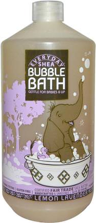Bubble Bath, Gentle For Babies And Up, Lemon Lavender, 32 fl oz (950 ml) by Everyday Shea-Barns Hälsa, Barnbad, Bubbelbad, Barnbubbelbad