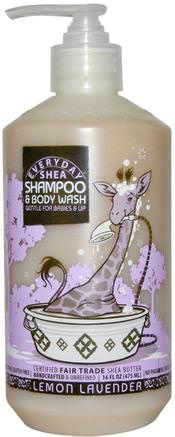 Shampoo & Body Wash, Gentle for Babies on Up, Lemon-Lavender, 16 fl oz (475 ml) by Everyday Shea-Barns Hälsa, Barnbad, Duschgel, Barn Kroppsvask, Barn Duschgel