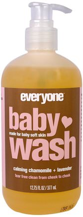 Baby Wash, Calming Chamomile and Lavender, 12.75 (377 ml) by Everyone-Barns Hälsa, Barnbad, Duschgel, Barn Kroppsvask, Barn Duschgel