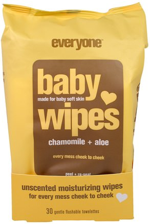 Baby Wipes, Chamomile Plus Aloe, 30 Gentle Flushable Towelettes by Everyone-Barns Hälsa, Diapering, Barnservetter