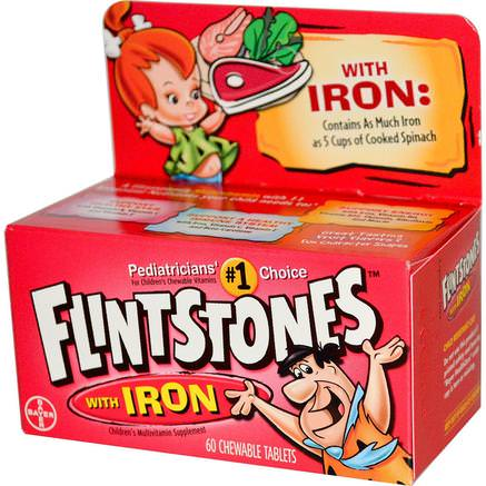 Childrens Multivitamin with Iron, Fruit Flavors, 60 Chewable Tablets by Flintstones-Vitaminer, Multivitaminer, Barn Multivitaminer