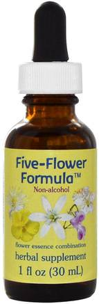 Five-Flower Formula, Flower Essence Combination, Non-Alcohol, 1 fl oz (30 ml) by Flower Essence Services-Örter, Botemedel