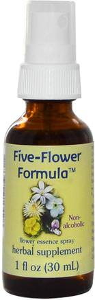 Five-Flower Formula, Flower Essence Spray, Non-Alcoholic, 1 fl oz (30 ml) by Flower Essence Services-Örter, Botemedel