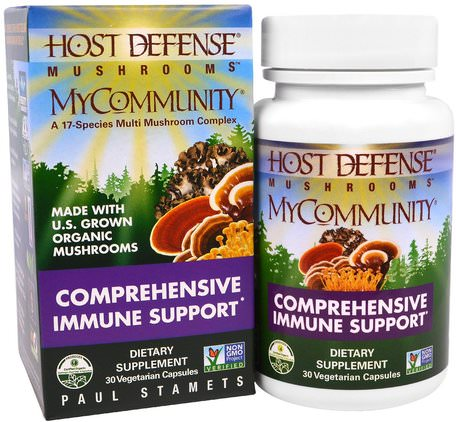 Host Defense Mushrooms, MyCommunity, Comprehensive Immune Support, 30 Veggie Caps by Fungi Perfecti-Kosttillskott, Medicinska Svampar, Zhu Ling, Blandade Kombinationer Av Svamp