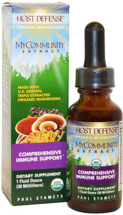 Host Defense, My Community Extract, 1 fl oz (30 ml) by Fungi Perfecti-Kosttillskott, Medicinska Svampar, Blandade Kombinationer Av Svamp