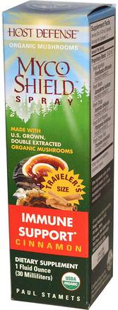 Host Defense, Myco Shield Spray, Immune Support, Cinnamon, 1 fl oz (30 ml) by Fungi Perfecti-Kosttillskott, Medicinska Svampar, Blandade Kombinationer Av Svamp
