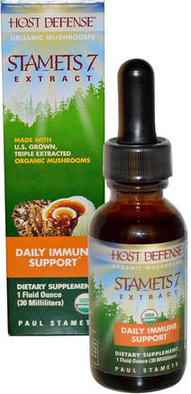 Host Defense, Stamets 7 Extract, Daily Immune Support, 1 fl oz (30 ml) by Fungi Perfecti-Kosttillskott, Medicinska Svampar, Blandade Kombinationer Av Svamp