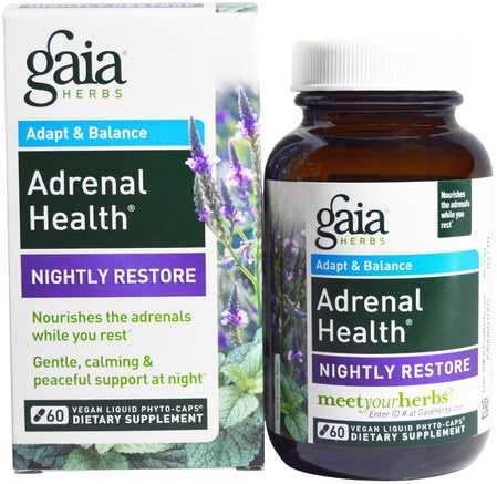Adrenal Health, Nightly Restore, 60 Vegan Liquid Phyto-Caps by Gaia Herbs-Hälsa, Binjurstöd