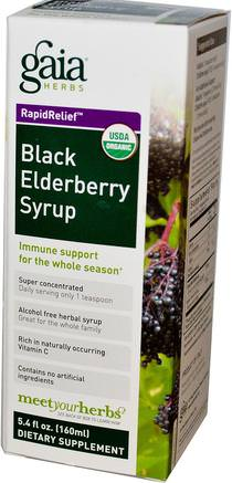 Rapid Relief, Black Elderberry Syrup, 5.4 fl oz (160 ml) by Gaia Herbs-Hälsa, Kall Influensa Och Virus, Immunförsvar