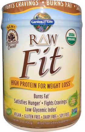 RAW Organic Fit, High Protein for Weight Loss, Chocolate Cacao, 1 lb (450 g) by Garden of Life-Hälsa, Kost