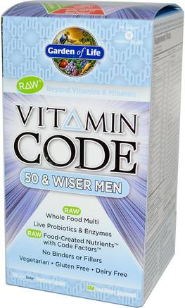 Vitamin Code, 50 & Wiser Men, 120 Vegetarian Capsules by Garden of Life-Vitaminer, Män Multivitaminer - Seniorer