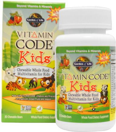 Vitamin Code, Kids, Chewable Whole Food Multivitamin for Kids, Cherry Berry, 30 Chewable Bears by Garden of Life-Vitaminer, Multivitaminer, Barn Multivitaminer