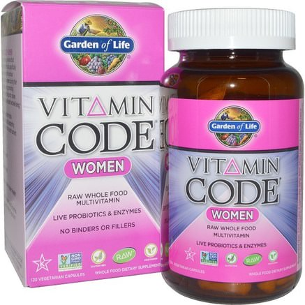 Vitamin Code, Women, Raw Whole Food Multivitamin, 120 Veggie Caps by Garden of Life-Vitaminer, Kvinnor Multivitaminer