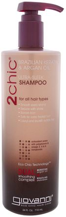 2Chic, Ultra-Sleek Shampoo, for All Hair Types, Brazilian Keratin & Argan Oil, 24 fl oz (710 ml) by Giovanni-Bad, Skönhet, Hår, Hårbotten
