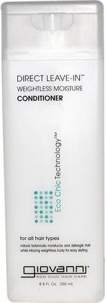 Direct Leave-In Weightless Moisture Conditioner, 8.5 fl oz (250 ml) by Giovanni-Bad, Skönhet, Balsam, Hår, Hårbotten, Schampo, Balsam