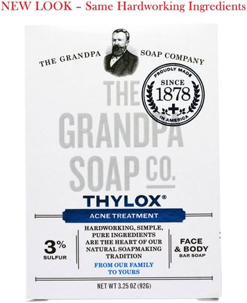 Face & Body Bar Soap, Thylox Acne Treatment.3.25 oz (92 g) by Grandpas-Skönhet, Akne Aktuella Produkter, Tvål