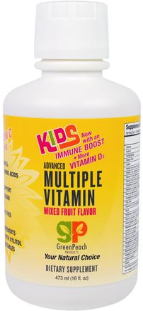 Kids, Advanced Multiple Vitamin, Mixed Fruit Flavor, 16 fl oz (473 ml) by GreenPeach-Vitaminer, Multivitaminer, Barn Multivitaminer