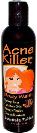 Acne Killer, Body Wash, 4 fl oz (120 ml) by Greensations-Skönhet, Akne Aktuella Produkter, Dusch Gel