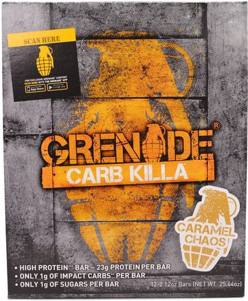 Carb Killa Bars, Caramel Chaos, 12 Bars, 2.12 oz (60 g) Each by Grenade-Sport, Protein Barer