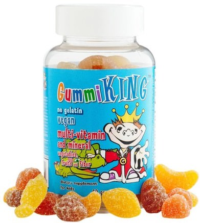 Multi-Vitamin and Mineral, Vegetables, Fruits and Fiber, For Kids, 60 Gummies by Gummi King-Vitaminer, Multivitaminer, Multivitamingummier, Barnhälsa, Barngummier