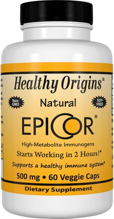 EpiCor, 500 mg, 60 Veggie Caps by Healthy Origins-Kosttillskott, Beta Glukan, Kall Influensa Och Viral, Epicor