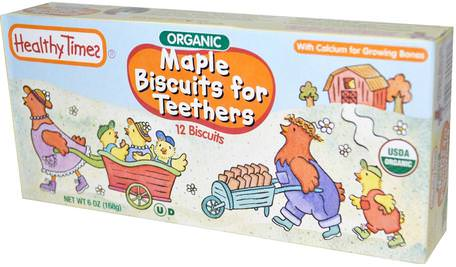 Organic Biscuits for Teethers, Maple, 12 Biscuits, 6 oz (168 g) by Healthy Times-Barns Hälsa, Babyfodring, Baby Snacks Och Fingermat, Baby Tänder