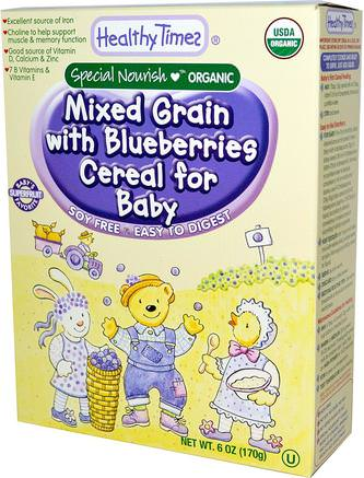 Organic Cereal for Baby, Mixed Grain with Blueberries, 6 oz (170 g) by Healthy Times-Barns Hälsa, Babyfodring, Barnflingor, Barnmat