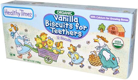 Organic Vanilla Biscuits for Teethers, 12 Biscuits, 6 oz (168 g) by Healthy Times-Barns Hälsa, Babyfodring, Baby Snacks Och Fingermat, Baby Tänder
