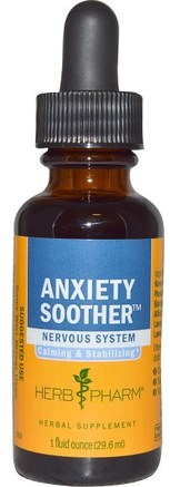Anxiety Soother, 1 fl oz (29.6 ml) by Herb Pharm-Hälsa, Ångest