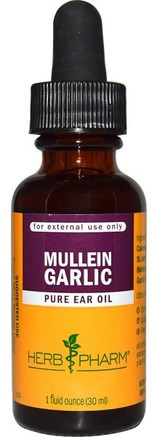 Mullein Garlic, Pure Ear Oil, 1 fl oz (30 ml) by Herb Pharm-Kosttillskott, Antibiotika, Vitlök