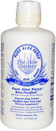 Inc, Pure Aloe Force, Liquified Aloe Vera Leaf, 32 fl oz (946 ml) by Herbal Answers-Kosttillskott, Aloe Vera, Aloe Vera Flytande