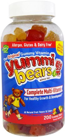 Yummi Bears, Complete Multi-Vitamin, All Natural Fruit Flavors & Colors, 200 Gummy Bears by Hero Nutritional Products-Vitaminer, Multivitaminer, Barn Multivitaminer, Multivitamingummier