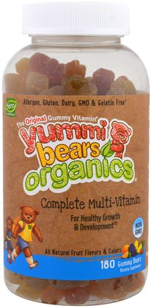 Yummi Bears Organics, Complete Multi-Vitamin, 180 Gummy Bears by Hero Nutritional Products-Vitaminer, Multivitaminer, Barn Multivitaminer, Barns Hälsa, Kosttillskott Barn