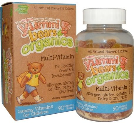 Yummi Bears Organics, Multi-Vitamin, 90 Gummy Bears by Hero Nutritional Products-Vitaminer, Multivitaminer, Barn Multivitaminer, Multivitamingummier